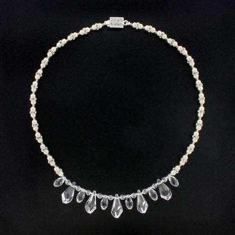 Multi-Drop Crystal Necklace with Pearls