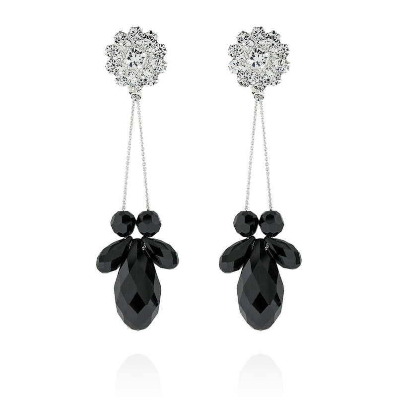 Briolette Chain Earrings - black