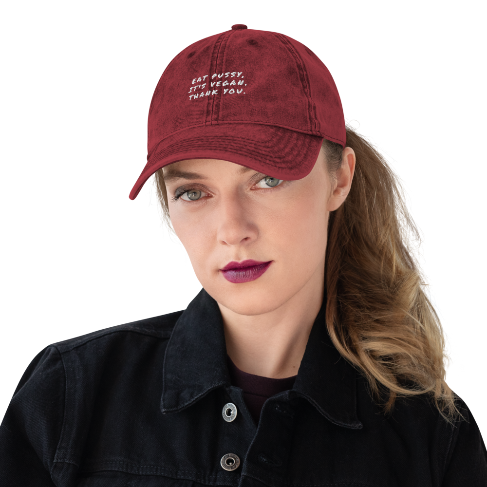 Eat Pussy It's Vegan Vintage Cotton Twill Cap - Proudly Vegan Co.