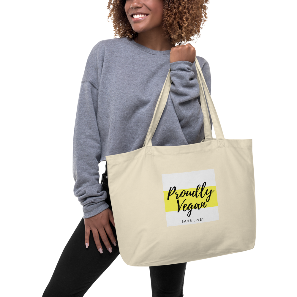 Proudly Vegan Large Organic Tote Bag - Proudly Vegan Co.