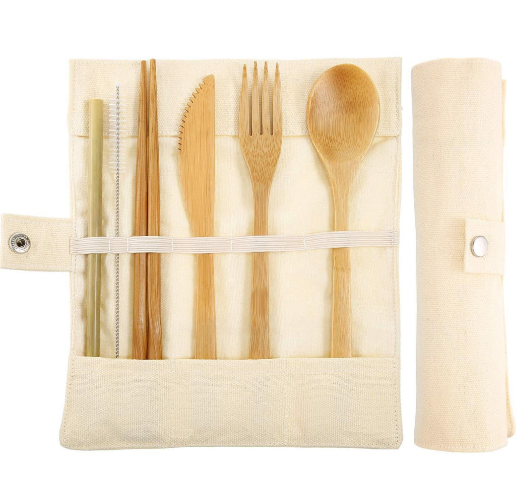 Eco-Friendly Recyclable Natural Bamboo Cutlery Travel Set Gift For Vegan Sustainable Fair Trade - Proudly Vegan Co.