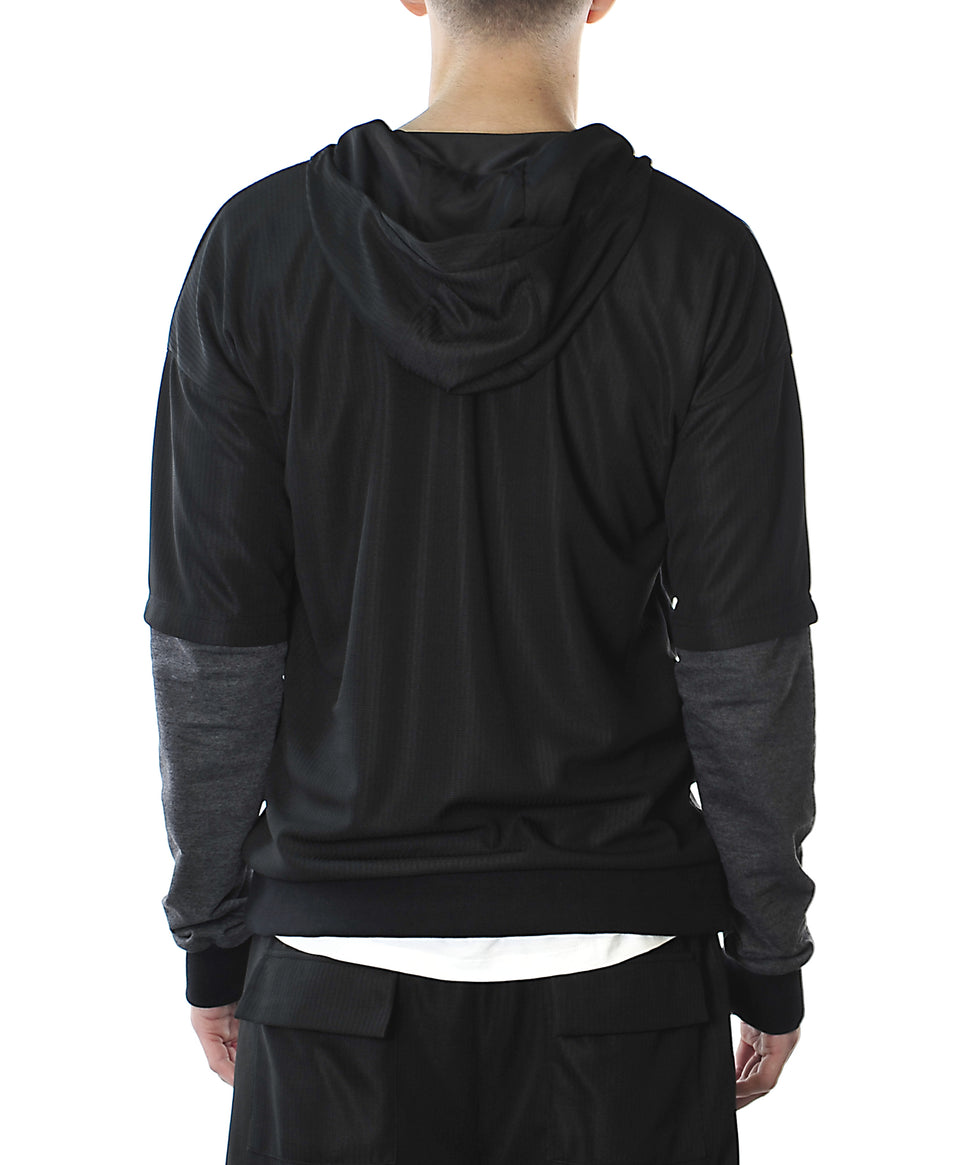 Double Sleeve Mens Hoodie | Black Grey | Mens Top | Australian Designer Menswear | Fitzroy | Melbourne