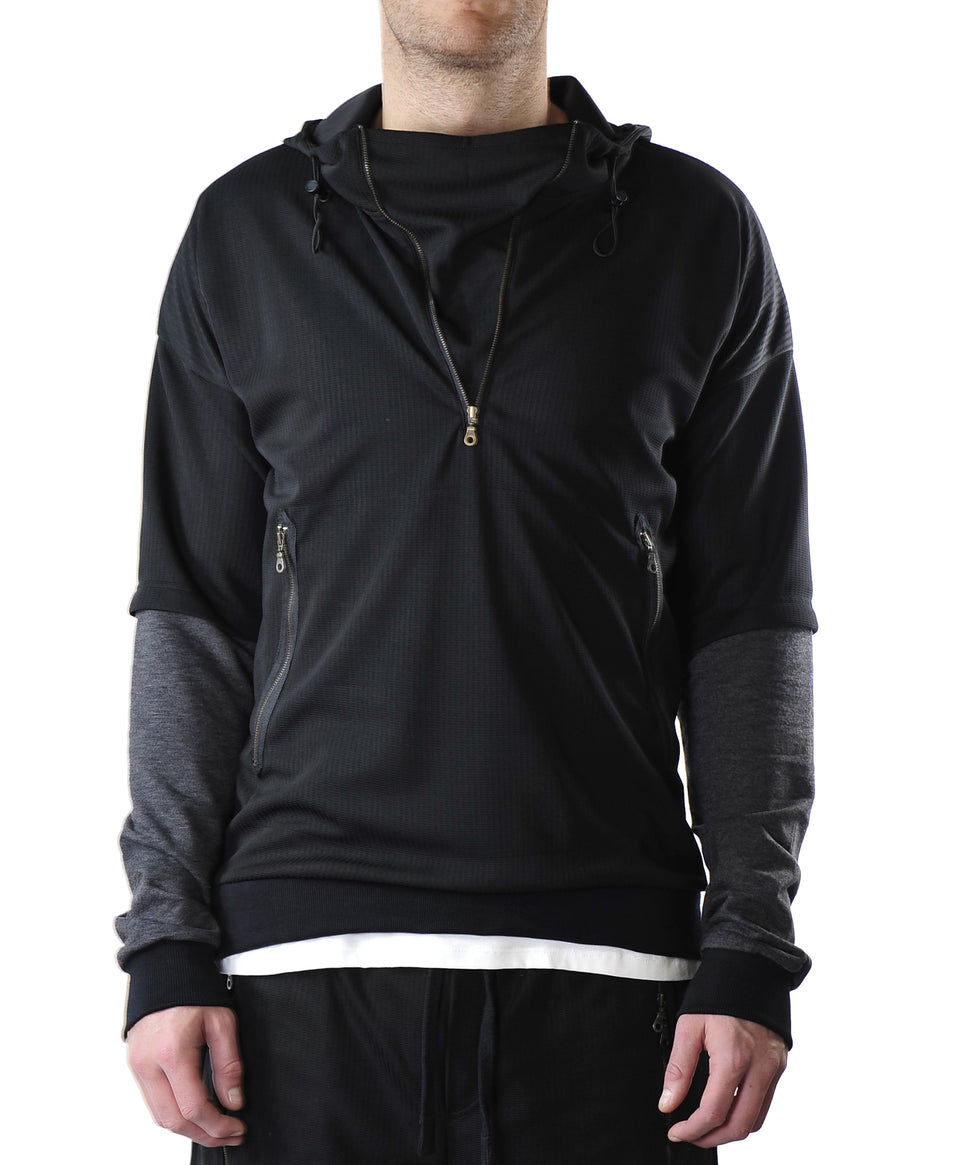 Double Sleeve Mens Hoodie | Black Grey | Mens Top | Australian Designer Menswear | Made in Fitzroy | Melbourne