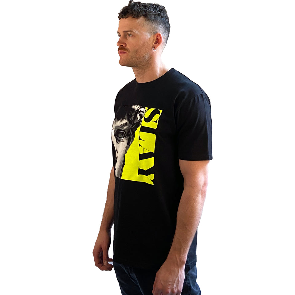 Designer Short Sleeve Mens Printed Tshirt in Black with Neon Print - Made in Melbourne Australia