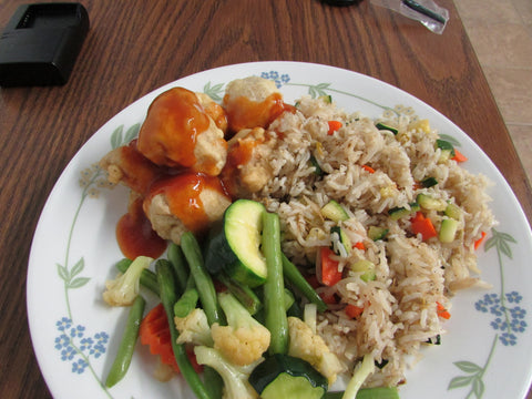 Sweet & Sour Chick'n Balls with Fried Rice & Veggie Medley