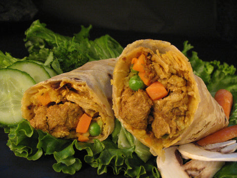Meatless Curry Chick*n Wrap
