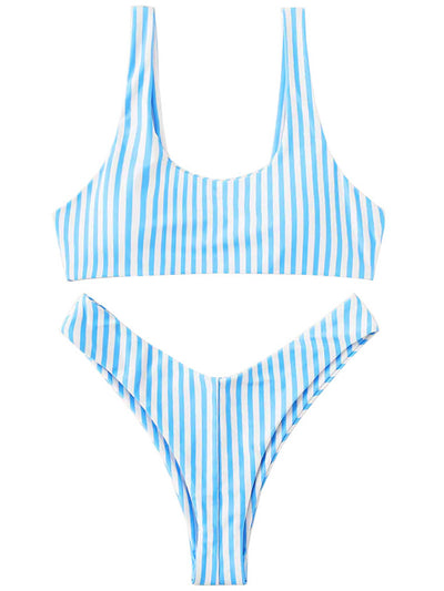 AOZSWIM Sexy Striped Bikini Set Women Two Pieces Swimwear Low Waist Bandeau Swimsuit