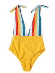AOZSWIM Sexy One Piece Swimwear Striped Swimsuit High Cut Beach Wear