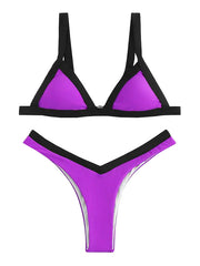 AOZSWIM Sexy Bikini Set Solid Swimwear High Cut Swimsuit