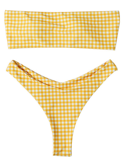 AOZSWIM Sexy Bikini Set Bandeau Swimwear Plaid Swimsuit