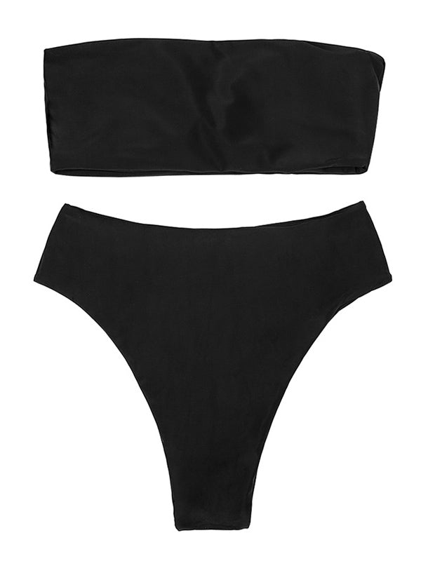 AOZSWIM Sexy Solid Bikini Set Women Bandeau Swimwear High Waist Swimsuit