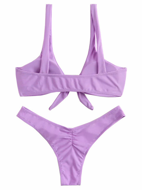 AOZSWIM Sexy Solid Bikini Set Women Knot Swimwear Low Waist Swimsuit