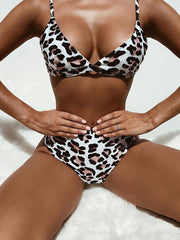 AOZSWIM Sexy Leopard Bikini Set Women Two Pieces Swimwear Mid Waist Swimsuit