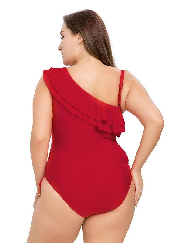 AOZSWIM Sexy Solid One Piece Women Ruffle Collar Swimwear Neon Red Swimsuit