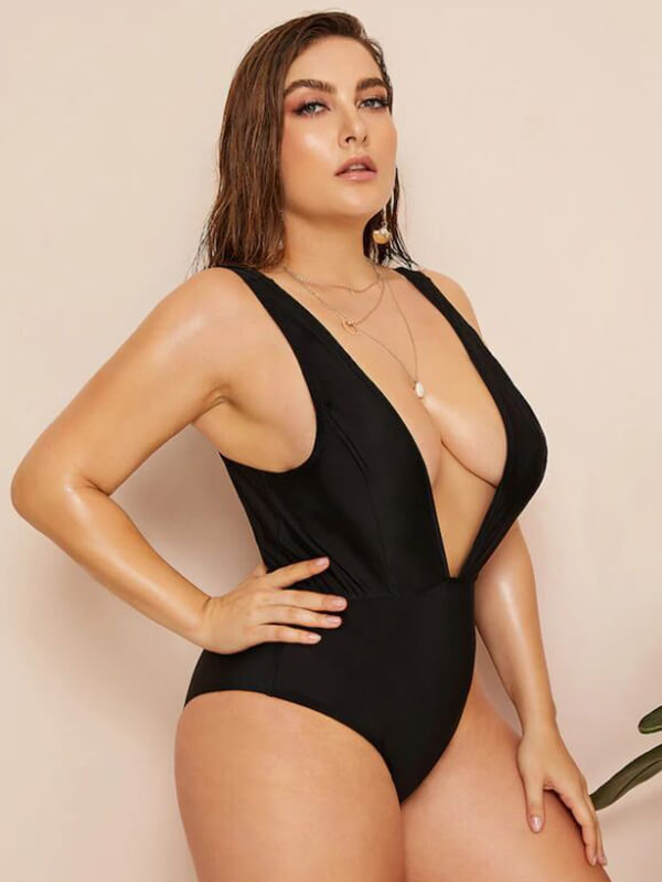 AOZSWIM Sexy Solid One Piece Women Square Straps Swimwear Black Swimsuit