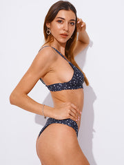 AOZSWIM Sexy Bikini Set High Cut Swimwear Print Swimsuit