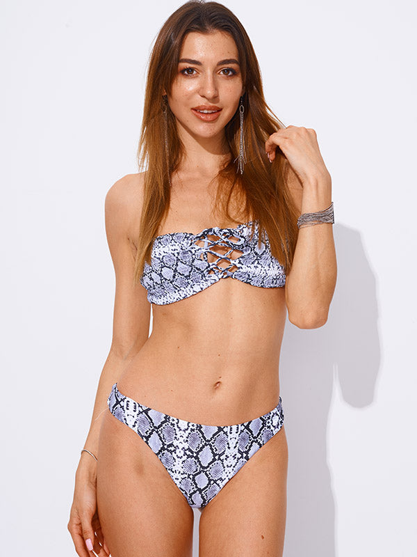 AOZSWIM Sexy Print Bikini Set Women two pieces Swimwear Mid Waist Swimsuits