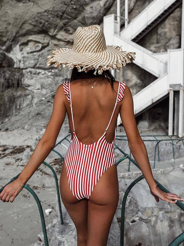 AOZSWIM Sexy Stripe One Piece Women Spaghetti Straps Swimwear Swimsuit