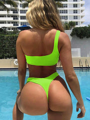 AOZSWIM Sexy Solid Bikini Set Women One Shoulder Swimwear Low Waist Swimsuit