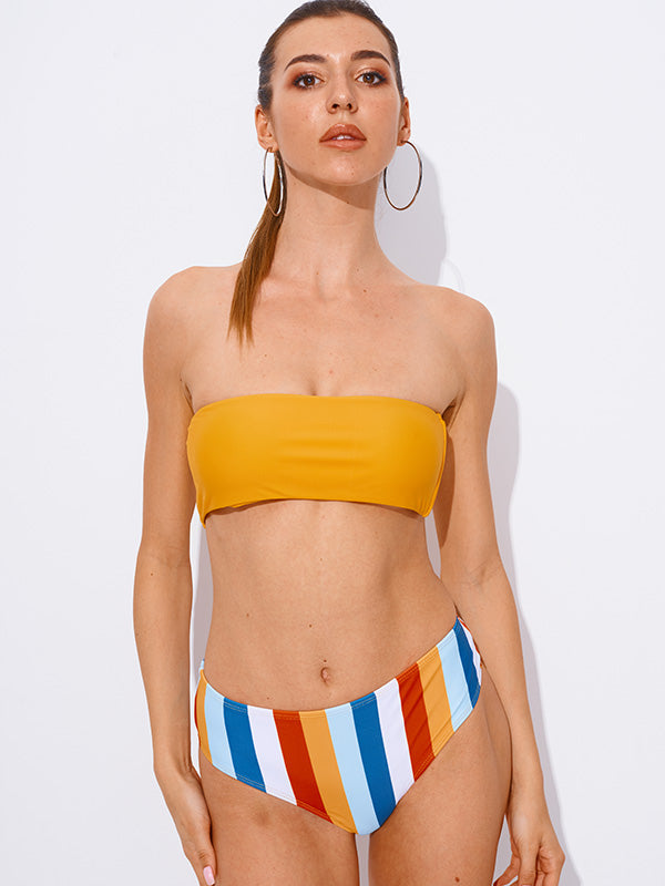 AOZSWIM Sexy Bikini Set Bandeau Swimwear Striped Swimsuit