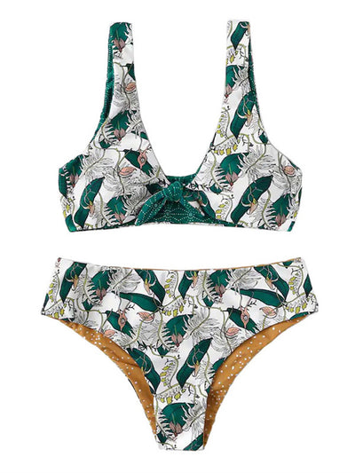 AOZSWIM Sexy Print Bikini Set Women Square Straps Swimwear High Waist Swimsuit