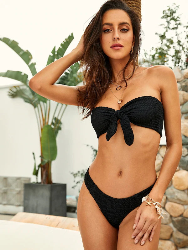 AOZSWIM Sexy Solid Bikini Set Women Bandeau Swimwear Low Waist Swimsuit