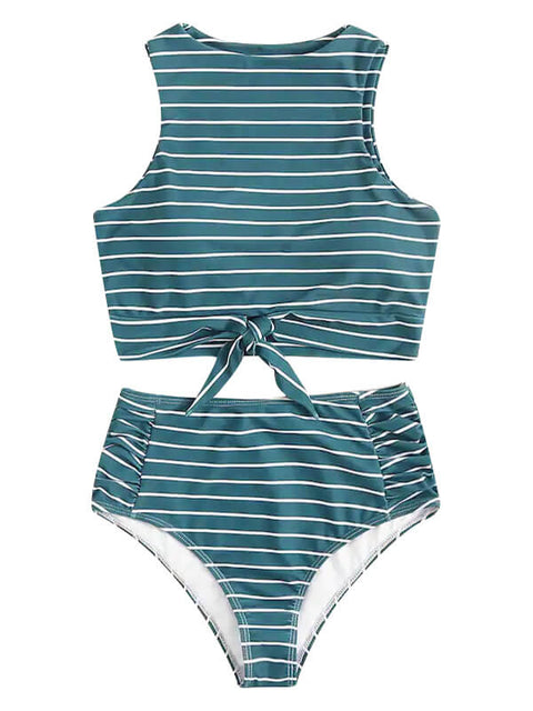 AOZSWIM Sexy Bikini Set High Waisted Swimwear Bow Print Swimsuit