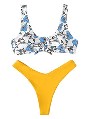 AOZSWIM Sexy Bikini Set High Swimwear Bow Print Swimsuit