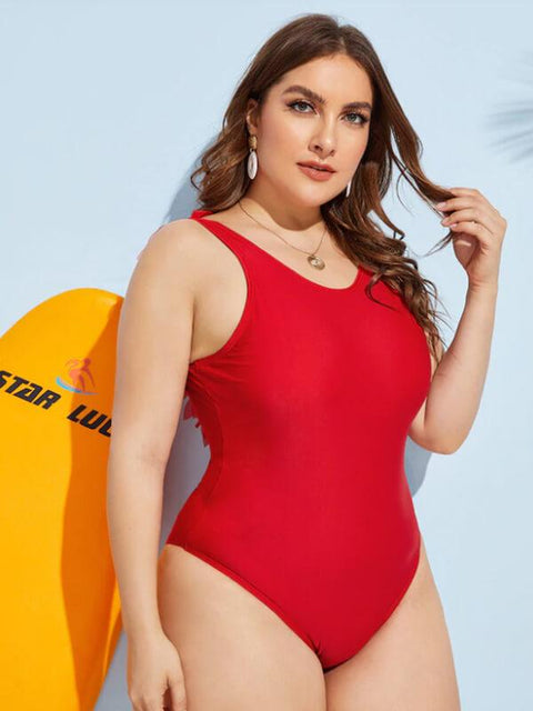 AOZSWIM Sexy Solid One Piece Women Ruffle Straps Swimwear Open Back Swimsuit