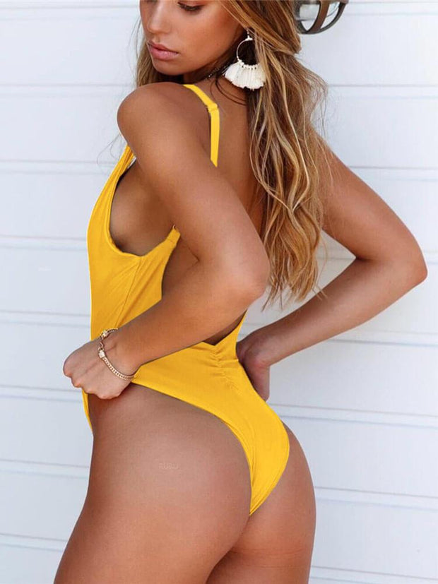 AOZSWIM Sexy Solid One Piece Women Yellow Swimwear Swimsuit
