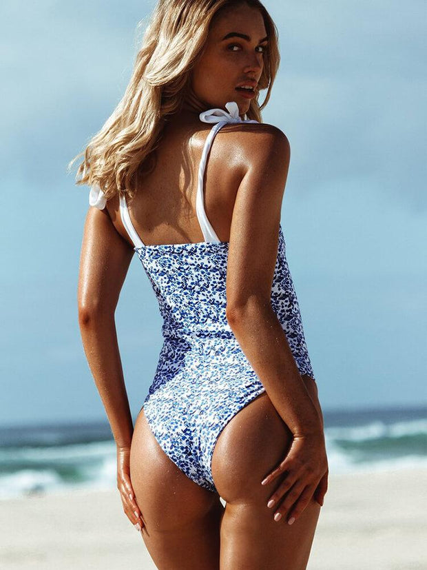 AOZSWIM Sexy Print One Piece Women Square Straps Swimwear Blue Flower Swimsuit