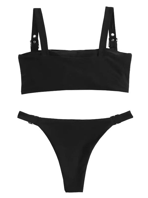 AOZSWIM Sexy Solid Bikini Set Women Swimwear Low Waist Swimsuit