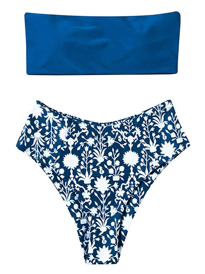 AOZSWIM Sexy Bandeau Bikini Set Women Two Pieces Swimwear High Waist Swimsuit