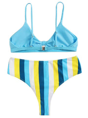 AOZSWIM Sexy Bikini Set Striped Swimwear Hollow Out Swimsuit