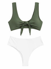 AOZSWIM Sexy swimsuit female solid swimwear Bikini Set high waist padded push up swimsuit women