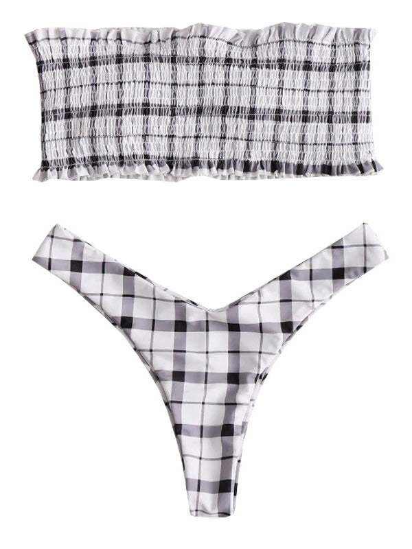 AOZSWIM Sexy checked Bikini Set Women Bandeau Swimwear Low Waist Swimsuit