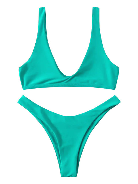 AOZSWIM Sexy Solid Bikini Set Women Square Straps Swimwear Low Waist Swimsuit