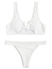 AOZSWIM Sexy Bikini Set Solid Swimwear Hollow Cut Swimsuit