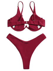 AOZSWIM Sexy Solid Underwire Bikini Set Women two pieces Swimwear Low Waist Swimsuit