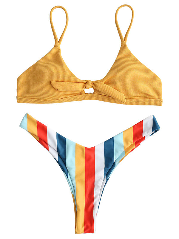 AOZSWIM Sexy Striped Bikini Set Women two pieces Swimwear Thong Bottom Swimsuits