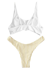 AOZSWIM Sexy Bikini Set Striped Swimwear High Cut Swimsuit