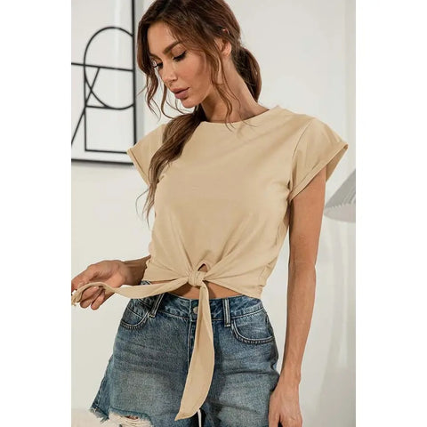 knot basic top (beige & rose)