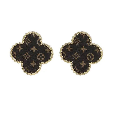 upcycled genuine LV leather quatrefoil earrings