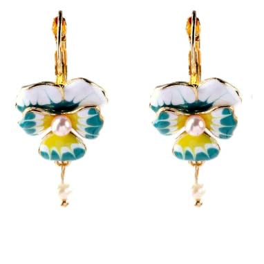 pansy pearl earrings