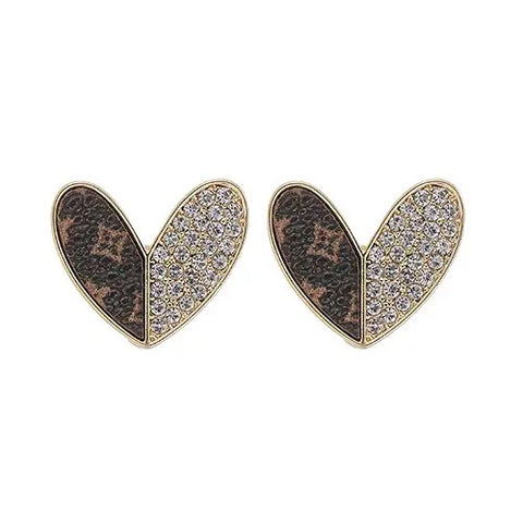 upcycled genuine LV leather heart earrings