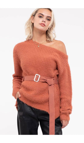 chic coral belted sweater