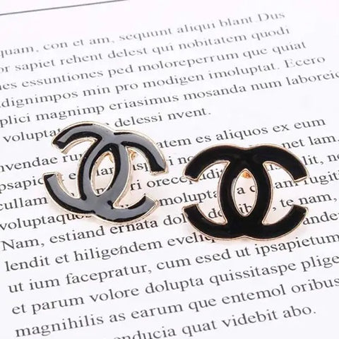 double c enamel earrings
