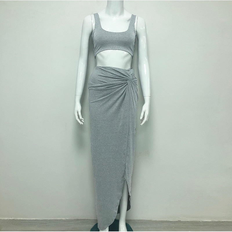 Solid Color Sleeveless Two -piece Suite