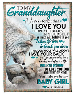 Personalized Blankets To My Granddaughter - Wolves - I Love You Wolf Blanket Custom Fleece Blankets