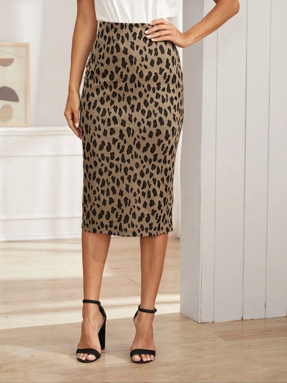 Leopard Cotton Pencil Skirt